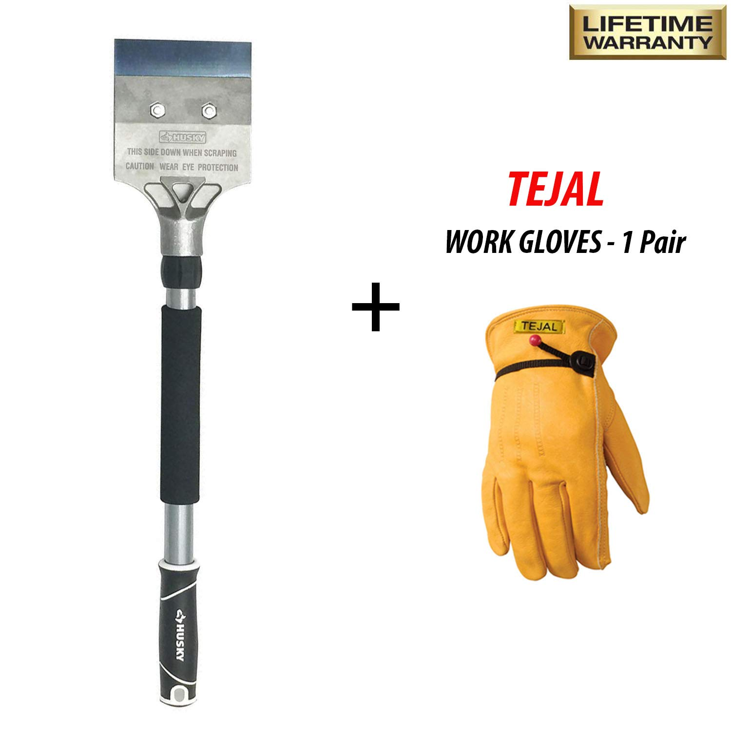 Husky 4 x 4 inches Floor Scraper with 18 Inches Handle - Heavy Duty 4 Inch Floor Scraper, Steel Blade, Soft Grip & Extra Form Grip - for Wall, Floor, Roof with TEJAL Cowhide Leather Work Gloves Large by Husky