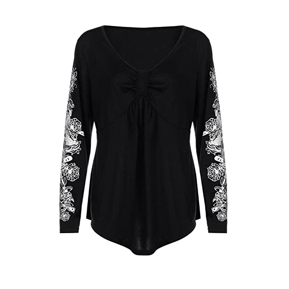 e9c85987f7991 Sannysis Plus Size Summer Lady Flowers Womens Long Sleeve T-Shirt Casual  Cotton Loose Tank Top Cute Blouses XL-5XL at Amazon Women s Clothing store