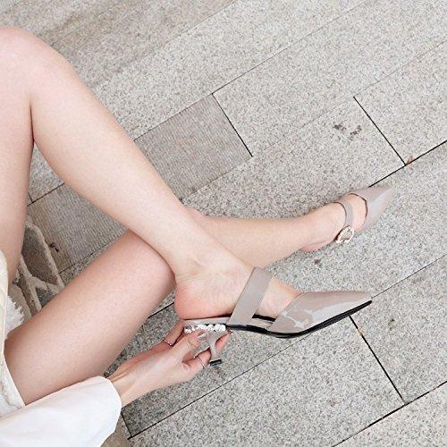 Strass MUYII Gray Chaussons En Sandales Confortables Et Chaussures élégantes Cuir Femmes Sexy Hqp7xqt
