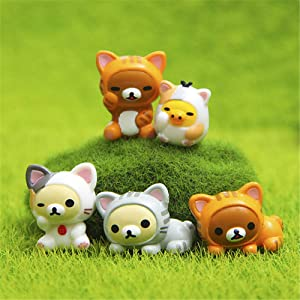 Kimkoala Miniature Cat Toys, 5 Pcs Cute Lucky Cosplay Cat Dolls Animal Action Figures Collection Toy Set for Miniature Garden Micro Landscape Decoration