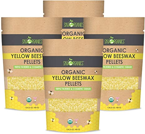 3 x Filtered Easy Melt Pastilles- for DIY 1 lb Pack of 2 Lip Balm Candles Skin Care Sky Organics USDA Organic White Beeswax Pellets Pure Beeswax No Toxic Pesticides or Chemicals