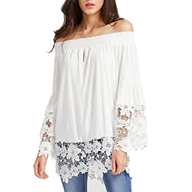 7176b4cbe8d Keliay Fashion Women Long Sleeve Off Shoulder Lace Patchwork Loose Shirt  Blouse Tops at Amazon Women's Clothing store: