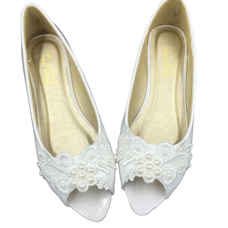 Women's Wedding Bridal Dress Lace Crystal Casual Slip-on Comfort Open Toe Flats Shoes B07F6VJLYS 9 B(M) US