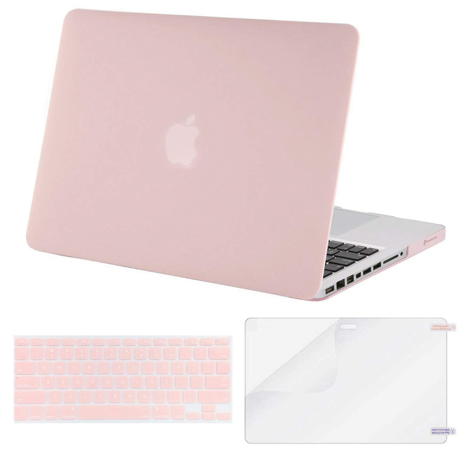 MOSISO Plastic Hard Shell Case & Keyboard Cover & Screen Protector Only Compatible Old MacBook Pro 13 Inch (A1278 CD-ROM), Release Early 2012/2011/2010/2009/2008, Rose Quartz