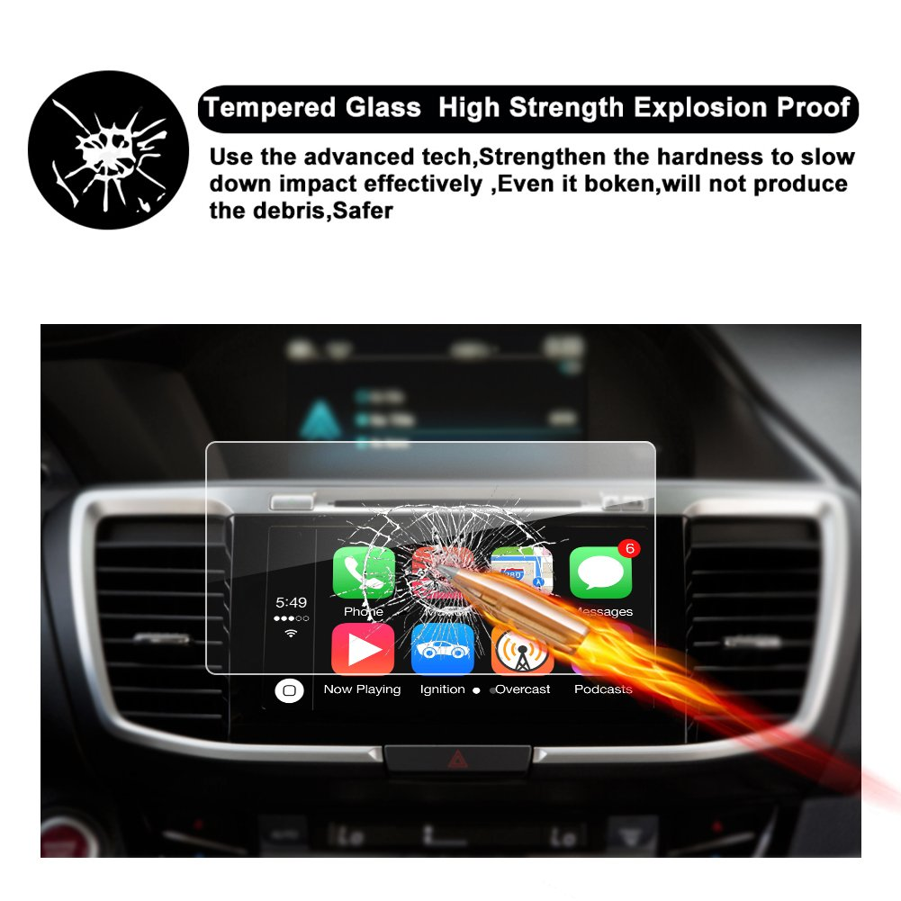 RUIYA Accord8In 2018 Honda Accord Sport EX EX-L Touring EX-L Navi Navigation Tempered Glass Screen Protector,HD Clear Scratch-Resistant Ultra HD Extreme Clarity with Screen-Printed Tech 2018 8In