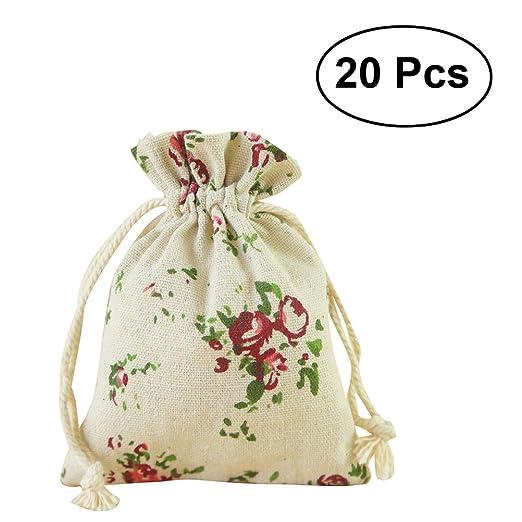 OUNONA Bolsas de Yute Saco de Joyas Caramelo Bombones Regalo Bolsas Decoración Boda 20pcs