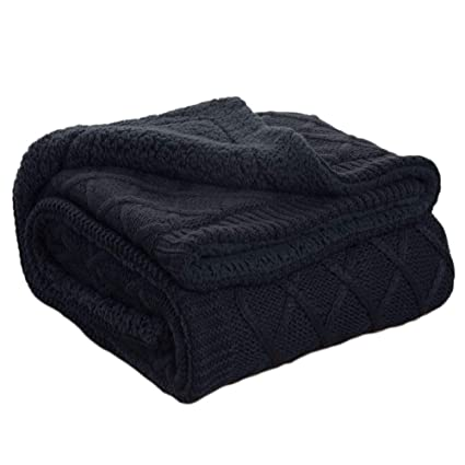 Amazon Bedsure Knitted Sherpa Throw Blanket Navy Baby Blanket Interesting Comfiest Throw Blanket