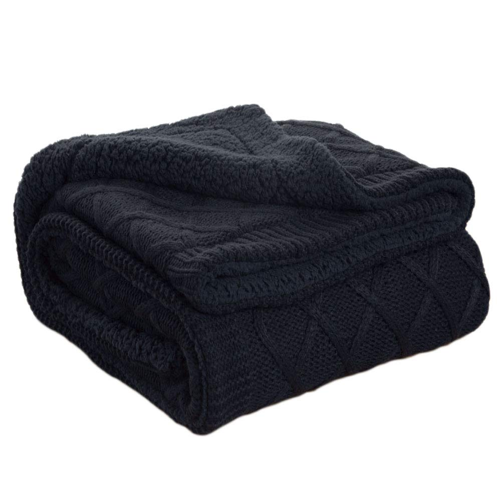 Bedsure Knitted Sherpa Throw Blanket Navy Baby Blanket 50x60 Swaddling Bed Blanket for Kids