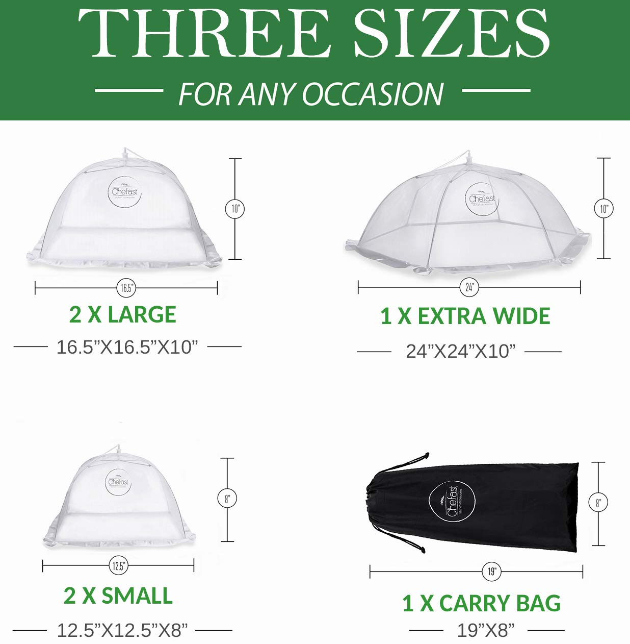 Chefast Food Cover Tents (5 Pack) - Combo Set of Pop Up Mesh Covers in 3 Sizes and a Reusable Carry Bag - Umbrella Screens to Protect Your Food and Fruit from Flies and Bugs at Picnics, BBQ and More by Chefast (Image #2)