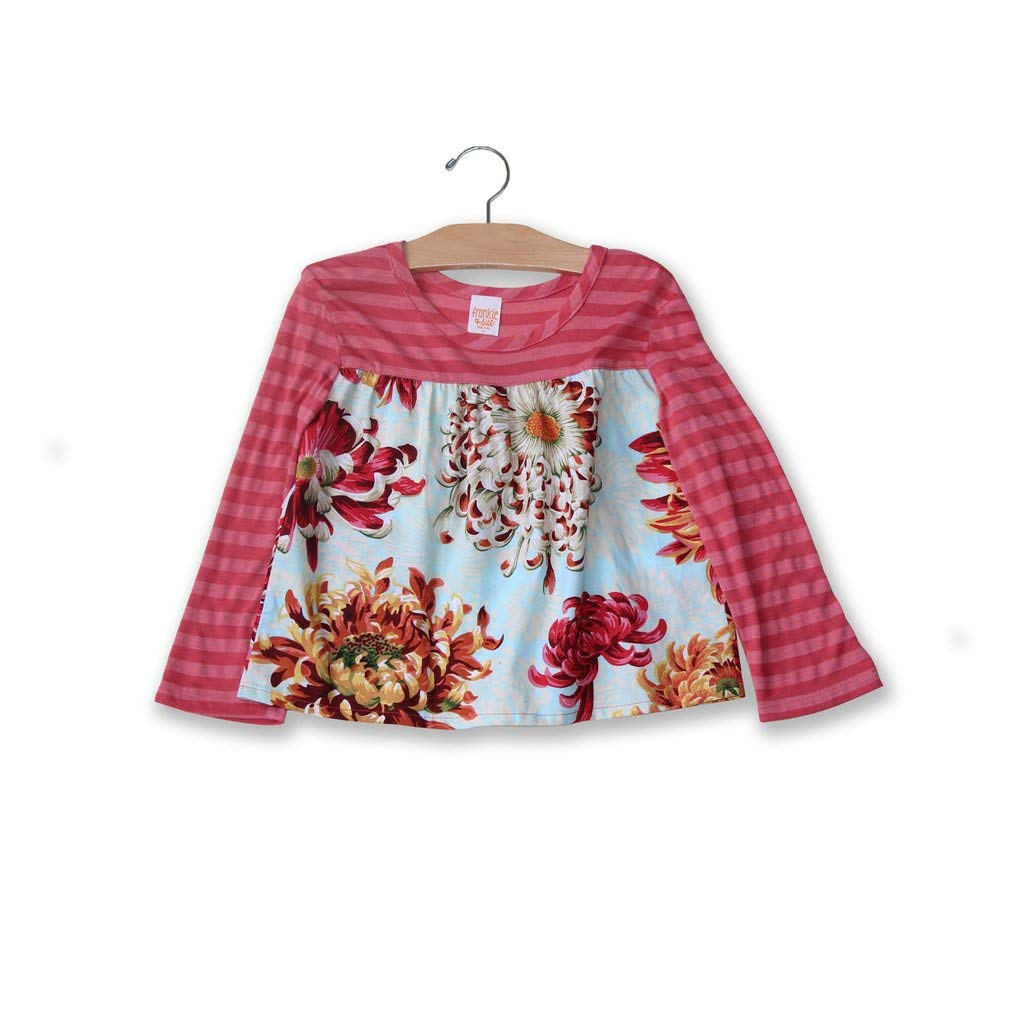 Soft Cotton Blouse for Girls Frankie /& Sue ICY Blue Mums Tallulah Top w//Pink Stripes