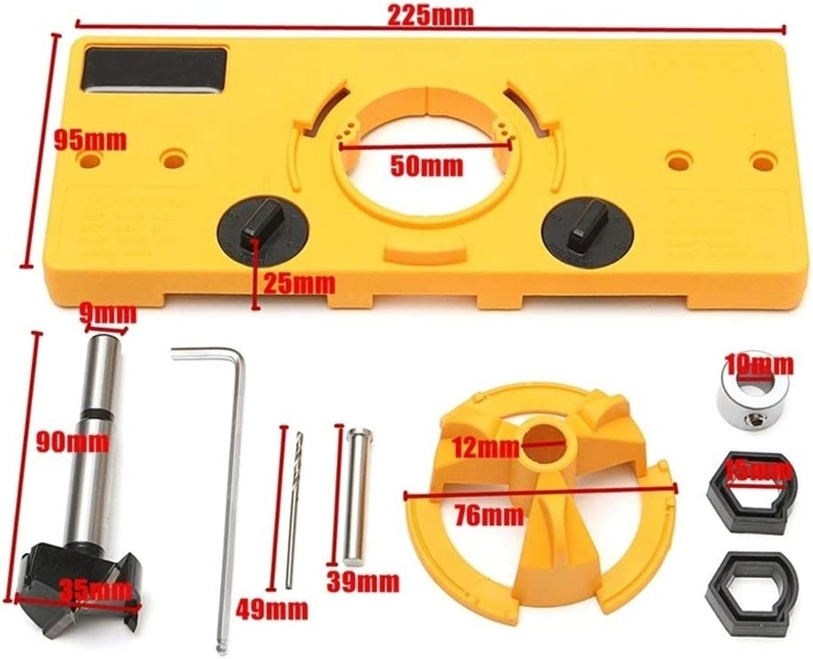 XinXinFeiEr Efficient 35Mm Cup Style Concealed Hinge Jig Drill Guide Set Boring Hole Template Drill Diy Woodworking Tools Kit Wood Cutter Purpose (Color : Yellow) Yellow