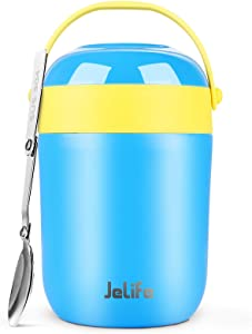 Jelife Kids Thermos for Hot Food - New 16oz Soup Container Lunch Thermos Insulated Food Jar for Adults, Stainless Steel Insulated Food Container with Spoon Vacuum Leak Proof for School Travel Camping
