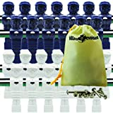 26 Blue and White Tournament Style Foosball Men with Free Screws & Nuts in Billiard Evolution Drawstring Bag