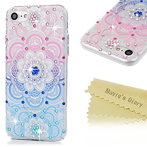 iPhone 7 Case (4.7 inch) - Mavis's Diary 3D Handmade Bling Crystal Rhinestone Diamonds Lovely Colorful Patterns Shiny Sparkling Gems [Full Edge Protection] Clear Hard PC Cover - Colorful Totem - Juicy Full Diamond