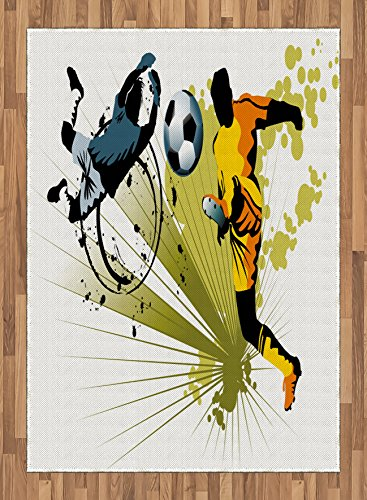 Boy's Room Area Rug by Lunarable, Soccer Player Attack Gate of the Opponent Jumping Goalkeeper Abstract Colorful, Flat Woven Accent Rug for Living Room Bedroom Dining Room, 5.2 x 7.5 FT, Multicolor by Lunarable