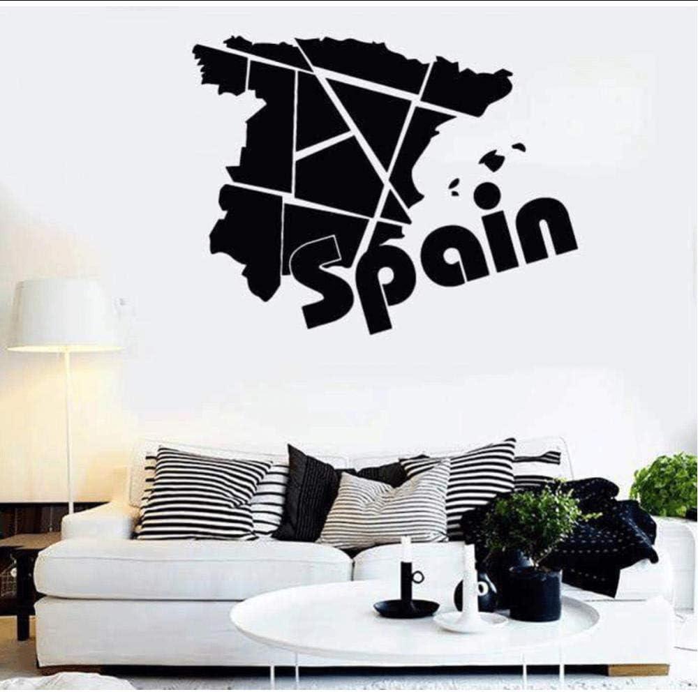 Calcomanías de vinilo España Europa mapa de viaje geografía hogar sala de estar dormitorio decoración pegatinas de pared 74x57cm: Amazon.es: Bricolaje y herramientas