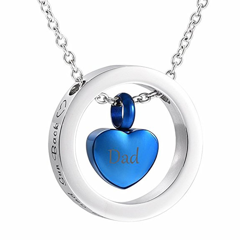 EternityMemory Dad In My Heart Urn Necklace-I Love You To The Moon And Sun Back Keepsake Cremation Jewelry For Ash (Blue)