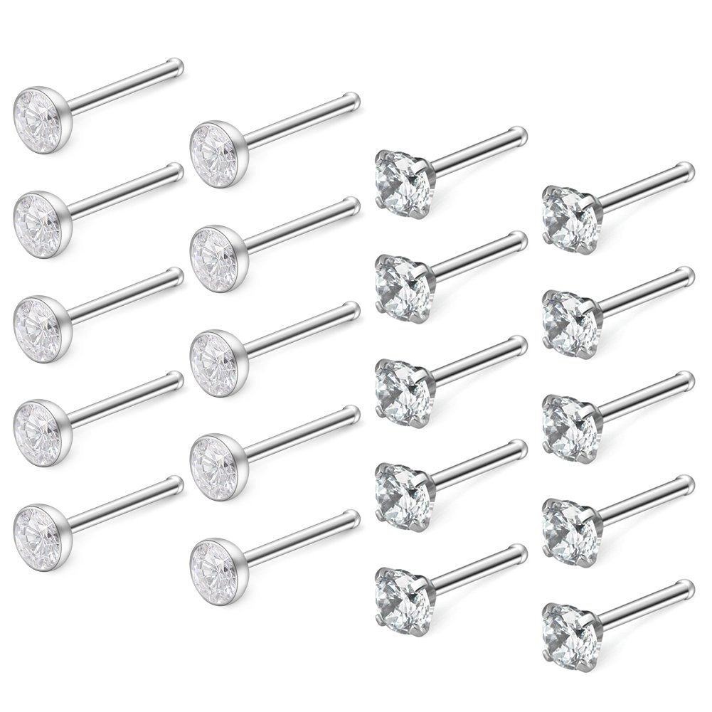 Ruifan 20PCS 18G 316L Surgical Steel 3mm Four Prong-set & Jeweled Clear Round Diamond Cubic Zirconia Crystal Nose Bone Studs Rings Piercing Jewelry