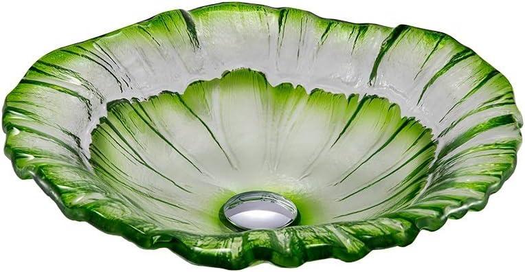 MKOG Lavabo del baño Jardín Cristal de Viento sobre la encimera Lavabo del baño del Hotel Tipo de Flor Lavabo Adecuado for el hogar Cocina Oficina (Color : Green, Size : 43X12.5CM):