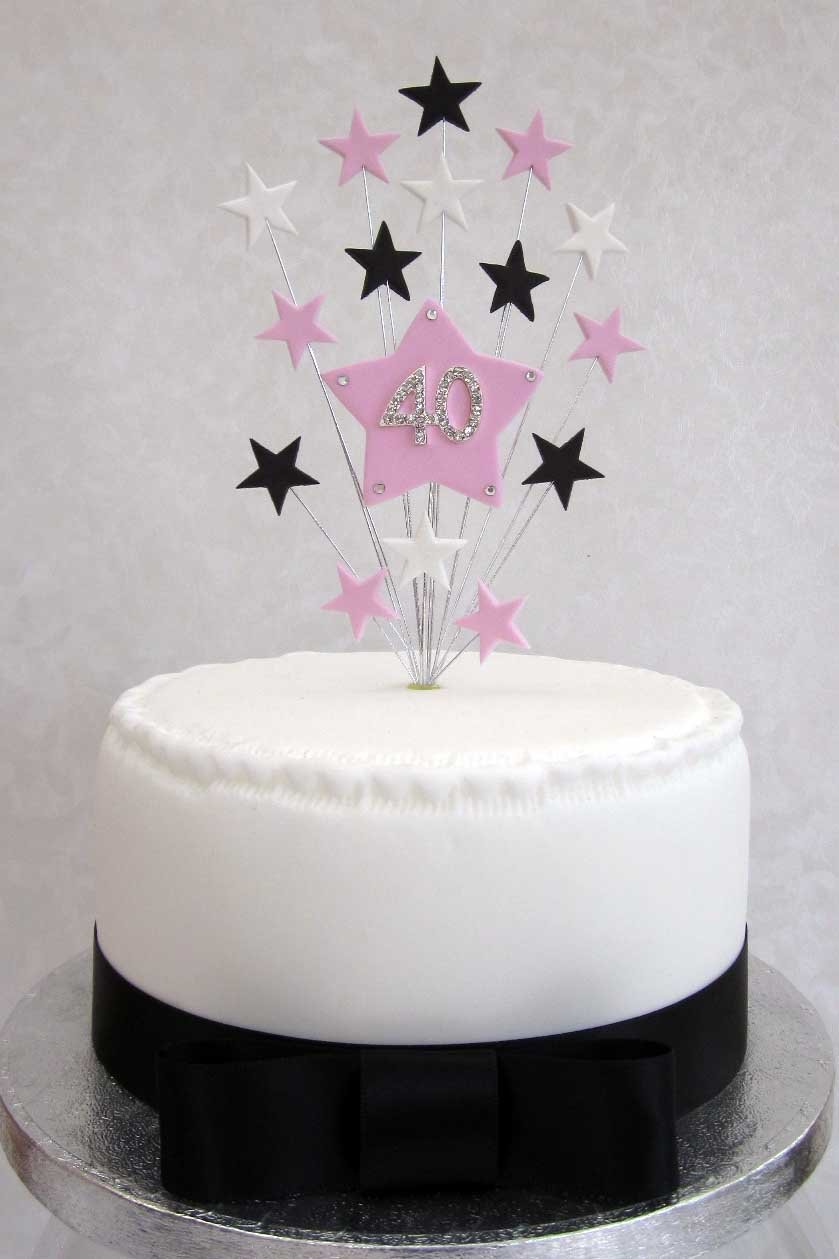 40th Birthday Cake Topper Pink Black And White Stars Suitable For