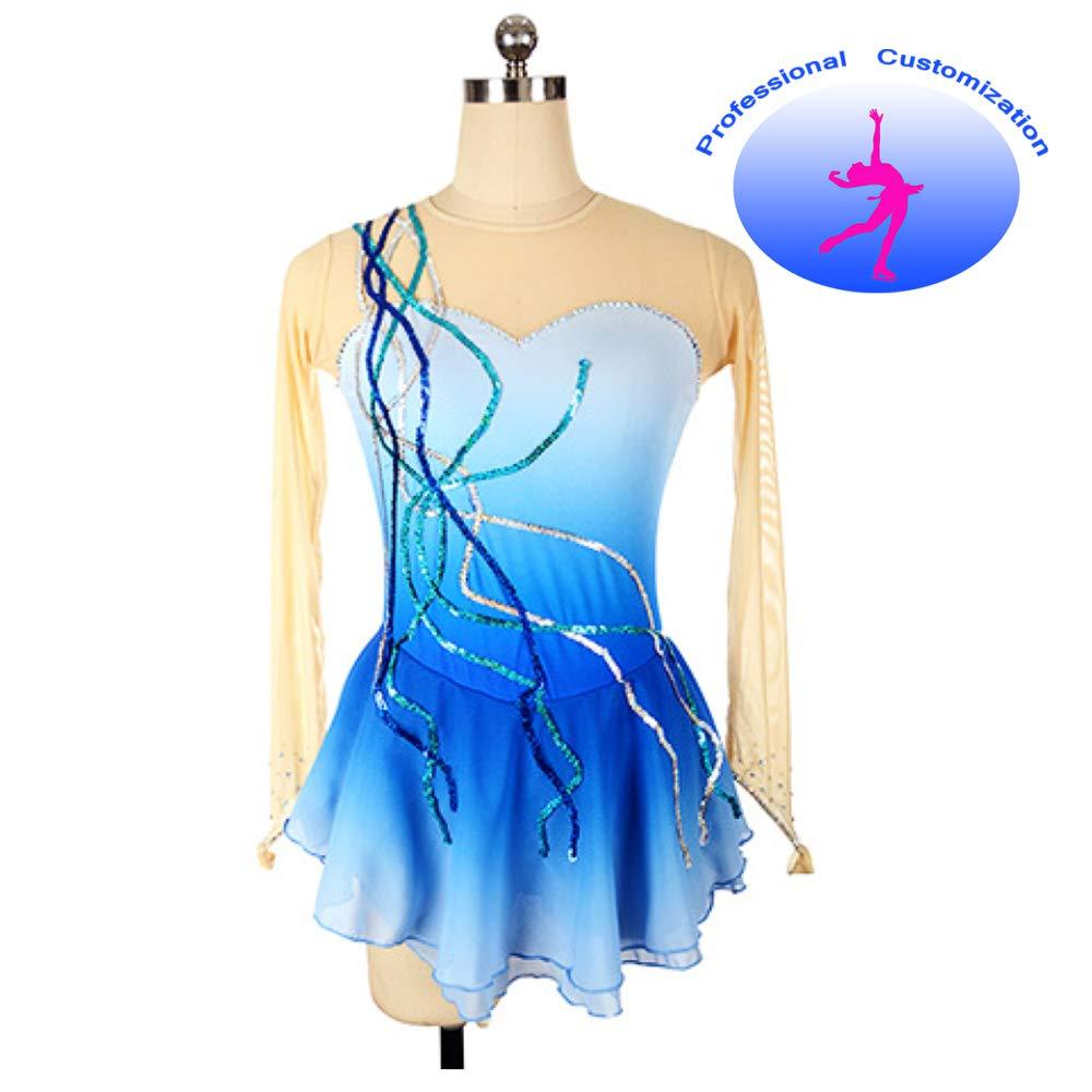 bleu S(chest65cm) CUIXI Robe De Patinage sur Glace en Nylon Et Strass pour Fille