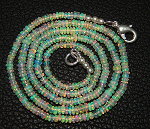 [1 Strand Natural smooth Ethiopian opal 3-4mm Rondelle beads19.5'' Necklace Christmas Sale By] (Necklace Love Beads)