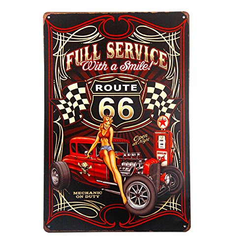 DL-Full Service Hot Rod Route 66 Die Cut Metal Sign pin up girls with smile vintage Garage wall art ()