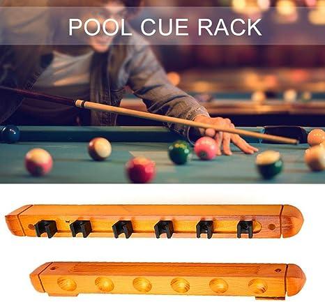 Billar Holder Estante de Pared para 6 Tacos Cue Pool Rack Billar ...