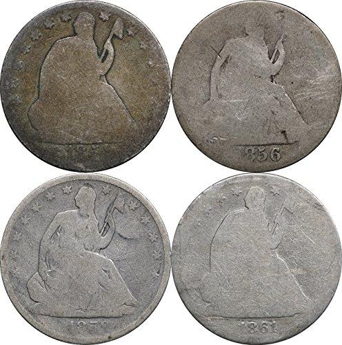 1854 , 1856, 1859, 1861 Seated Liberty Half Dollars, 4 Coins AG About Good (1856 Half Dollar)