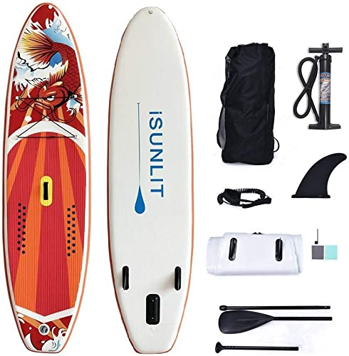 iSUNLIT Paddle Board Inflatable SUP Stand up Paddle Board with Free Accessories Adjustable Paddle,Cruiser, Coil Leash, Travel Backpack, 300 x 76 x 15 cm Huge Safe Super Stable Suitable for Beginners
