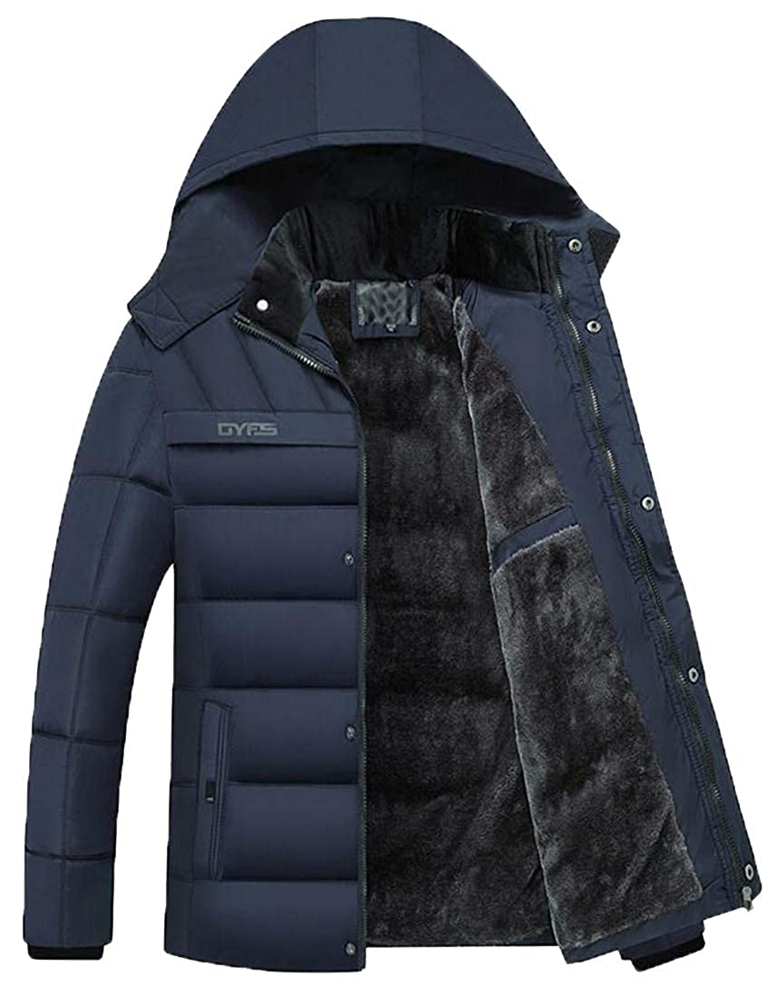 YYG Men Thicken Winter Hooded Parkas Warm Fleece Quilted Jacket Coat Outerwear