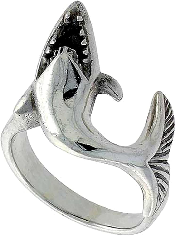 Sterling Silver Shark Ring for Women 1/4 inch Sizes 6-10