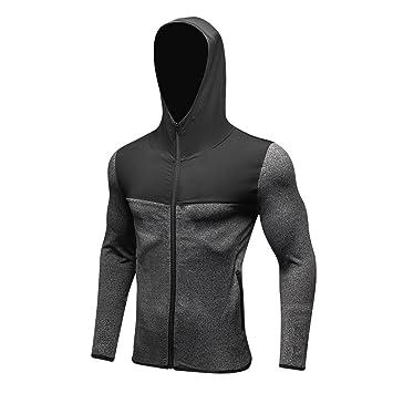 Fastar Sudaderas con capucha para hombre - chaqueta abrigo de manga larga elástico transpirable otoño invierno para running , fitness (XL, Gris): Amazon.es: ...