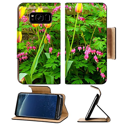 Front Cluster (MSD Premium Samsung Galaxy S8 Plus Flip Pu Leather Wallet Case A pretty cluster of Blushing Beauty tulips and bleeding hearts growing in front of a IMAGE 29296711)