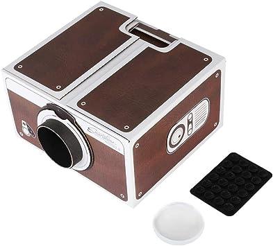 Opinión sobre ASHATA Marrón - Luckies of London Bricolaje Proyector Segunda generación Mini Bricolaje Hogar Portátil Inteligente Teléfono móvil Proyector Home Cinema