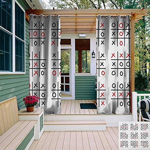 leinuoyi Xo, Outdoor Curtain Extra Wide, Doodle Style Tic Tac Toe Game Set Table with X and O Letters Artistic Design, Fabric by The Yard W120 x L108 Inch Black White and Red