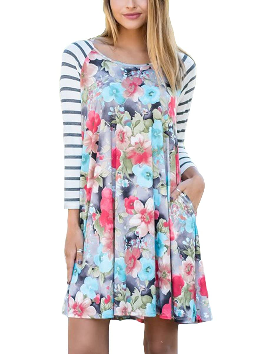 Women's Striped Floral Print Casual T-shirt Dress Maxi Dress