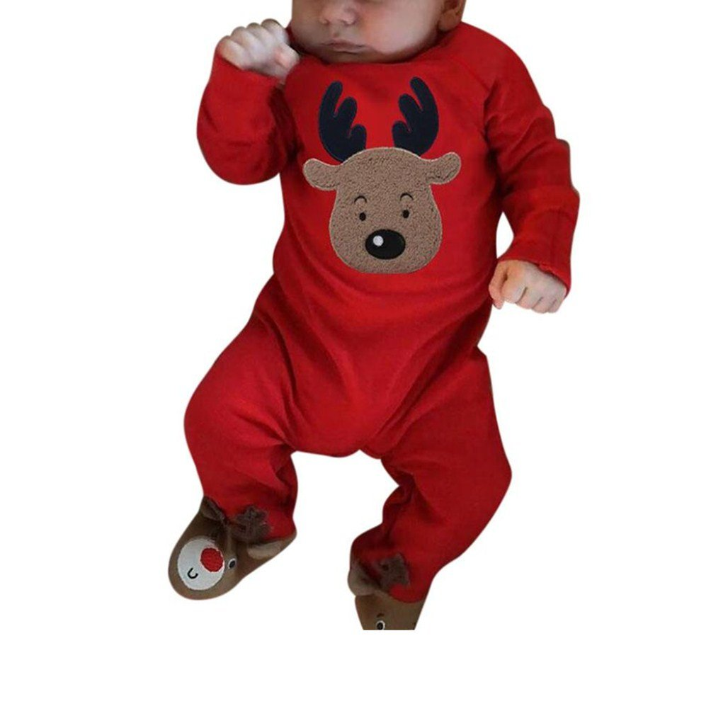 Xshuai 0-24 Months Kids, Xmas Fashion Newborn Infant Toddler Baby Girls Boys Christmas Clothes Deer Romper Jumpsuit Pajamas Outfits