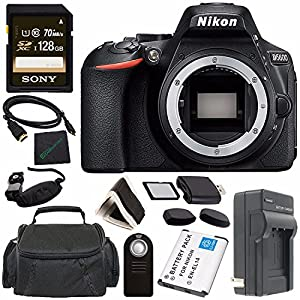Nikon D5600 DSLR Camera (Body Only) (Black) 1575 + Rechargable Li-Ion Battery + Charger + Sony 128GB SDXC Memory Card + HDMI Cable + Case + Remote + Memory Card Wallet + Memory Card Reader Bundle