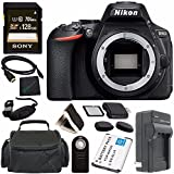 Nikon D5600 DSLR Camera (Body Only) (Black) 1575 + Lithium Ion Battery + Charger + Sony 32GB SDHC Card + Mini HDMI Cable + Carrying Case + Remote + Memory Card Wallet + Card Reader Bundle