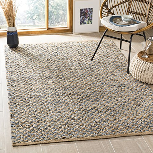 Safavieh Cape Cod Collection Blue and Natural Cotton Area Rug, 5 x 8