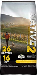 NATIVE Performance Dog Food Level 2 26:16 Chicken Meal and Rice Formula, 40-Pound