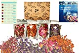 All Natural 4 Packs Edible Dried Flower Bulk Kit for Tea, Bath Bomb, Soap, Candle, Resin Making– No Preservatives No Addictive Rose Bud, Lily, Forget me not, Peony petals.