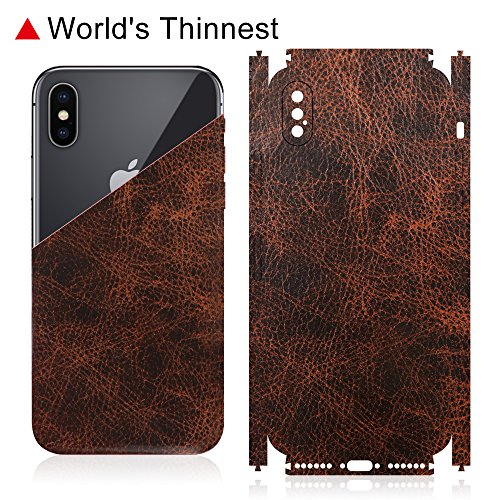 Cowhide Leather Skin Case (iPhone X Case, (Cowhide Leather Cover+ Glass)2 in 1 Shock Absorption Double Protection Military-Juqitech Soft Genuine Cowhide Leather Cover + HD Screen Protector for iPhone X – Brown)