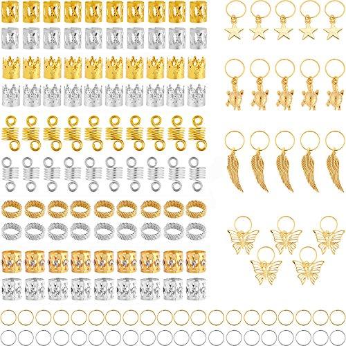 Bead Coil (TecUnite 160 Pieces Aluminum Hair Coil Dreadlocks Hair Braid Rings Metal Hair Cuffs Hair Braiding Beads Tortoise Star Wing Butterfly Pendant Charms Rings Set, Gold and Silver)