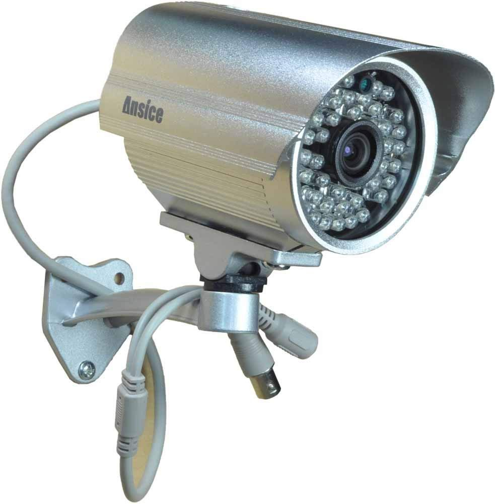 Ansice Outdoor CCTV Surveillance Camera 3.6mm wide angle Bullet Security Camera color CMOS 1000TVL with IR-CUT Day Night 48 Infrared LEDs with Bonus Power Supply by ansice