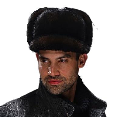 74253d000c700 URSFUR Men s Premium Mink Full Fur Full Russian Ushanka Trapper Hats  (Brown) at Amazon Women s Clothing store