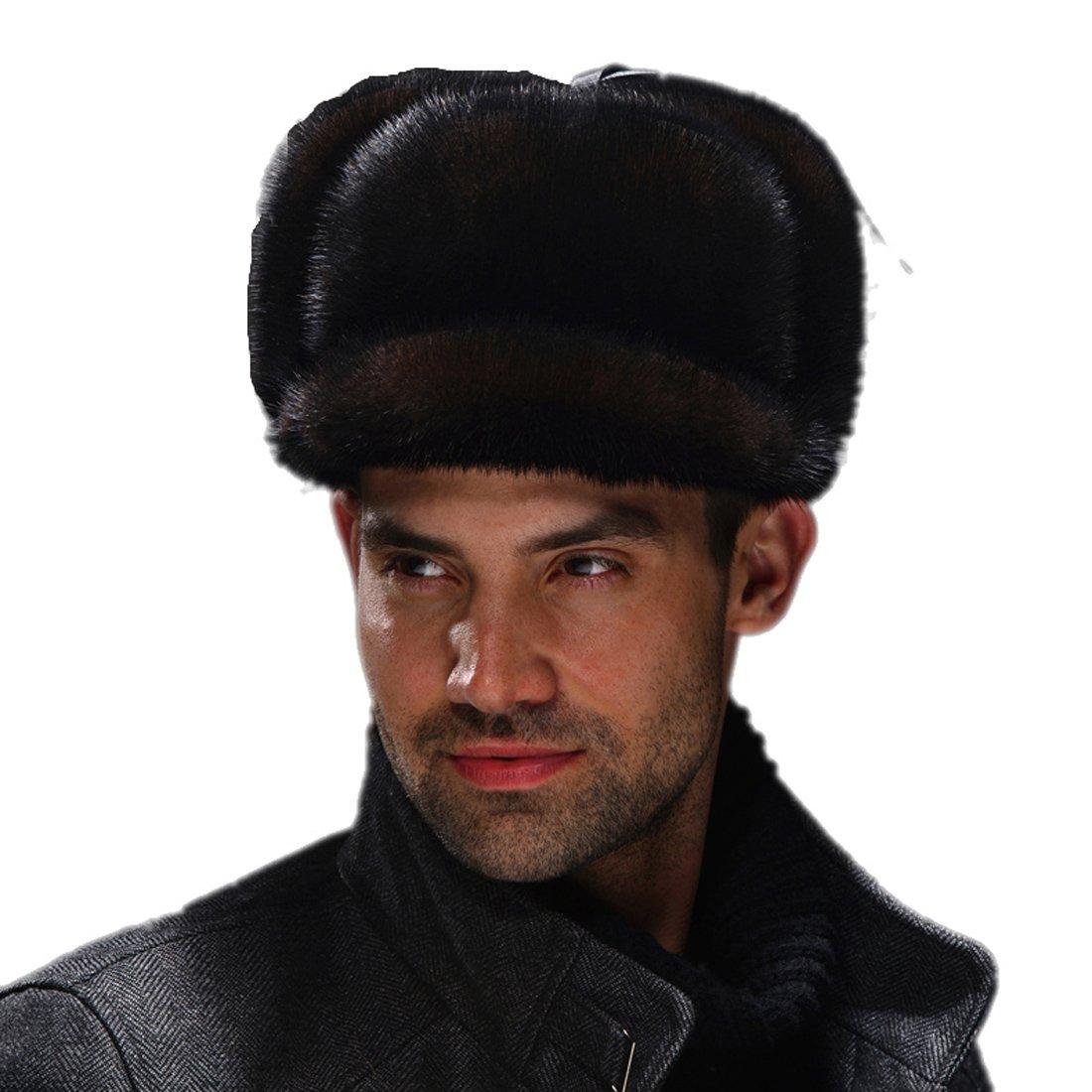 URSFUR Men's Premium Mink Full Fur Full Russian Ushanka Trapper Hats ( Brown) by URSFUR