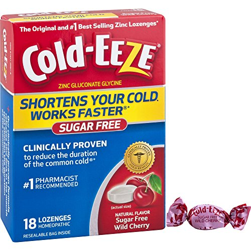 Cold-EEZE Cold Remedy Sugar Free Lozenges Wild Cherry 18 Count - The original and #1 best-selling zinc (Cold Eeze Cough Drops Box)