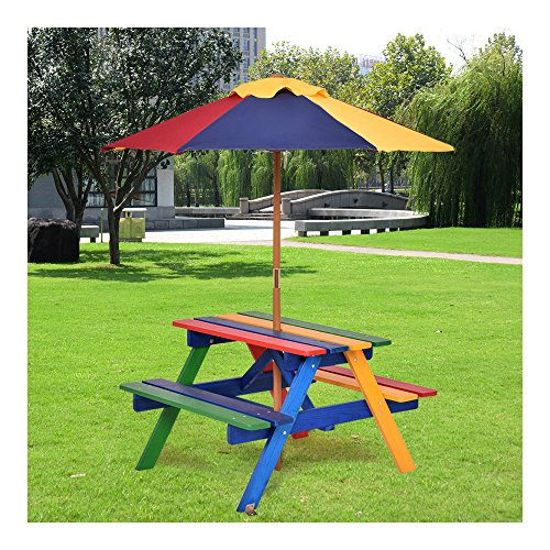 New 4 Seat Kids Picnic Table w/Umbrella Garden Yard Folding Children Bench Outdoor from Unknown